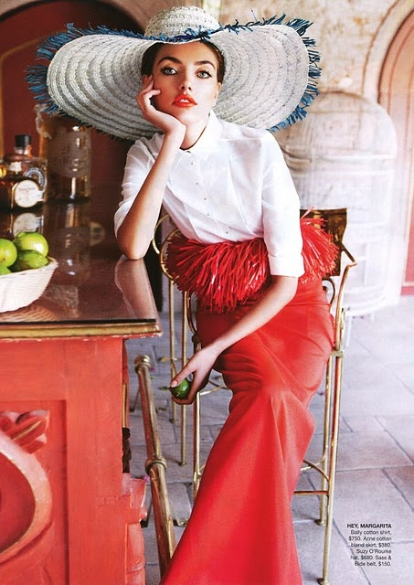 Red frills and hat